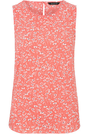 Sleeveless Ditsy Print Crepe Top