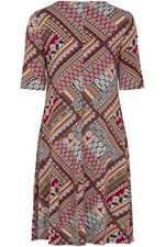 Zig Zag Patchwork Print Swing Dress