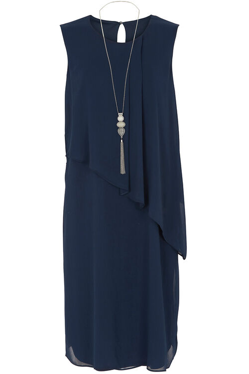 Ann Harvey Double Layer Dress with Necklace