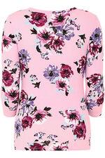 3/4 Sleeve Floral Print V Neck Top