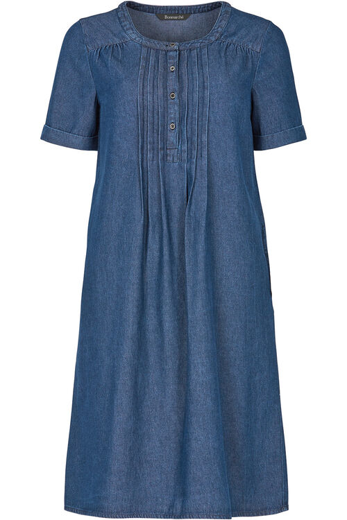 Denim Pintuck Dress