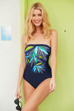 Leaf Print Bandeau Swimsuit With Detachable Straps