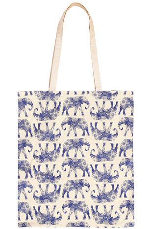 Elephant Print Cotton Shopper Bag