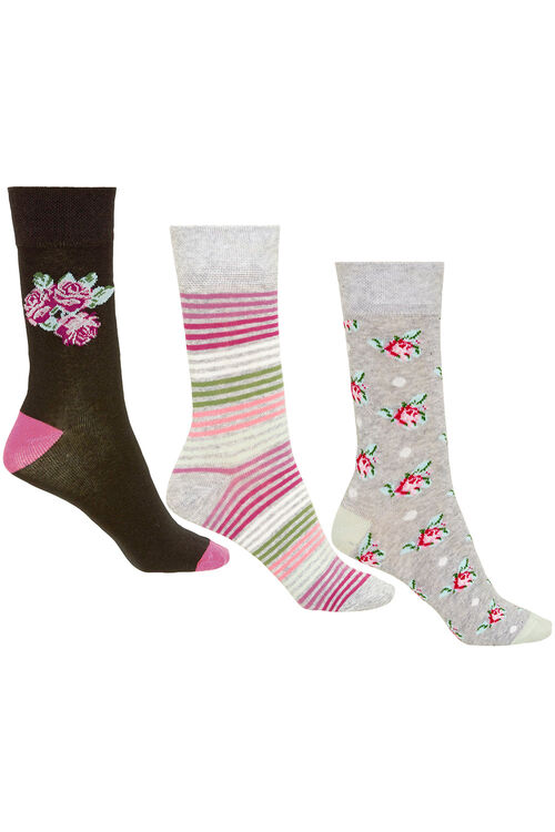 3 Pack Rose Printed Sock