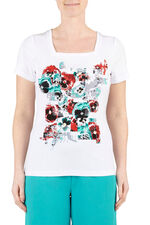 Pixelated Pansy Square Neck T-Shirt