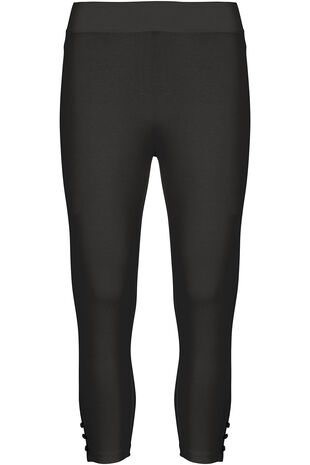 Cropped Button Hem Leggings
