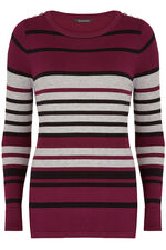 Stripe Enamel Button Jumper