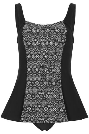 Geometric Centre Print Swim Dress