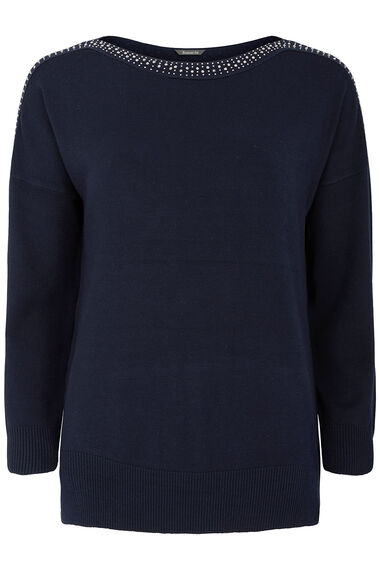 Drop Shoulder Jumper With Embellished Neckline