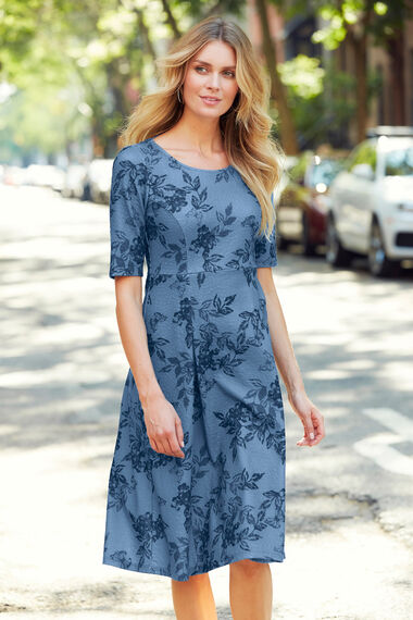 Butterfly Print Fit and Flare Dress