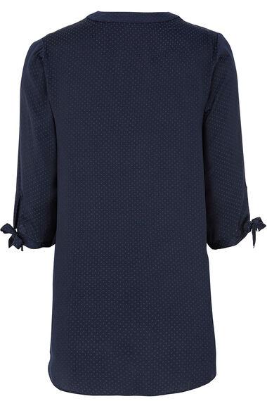 Plain Longline Tie Sleeve Shirt