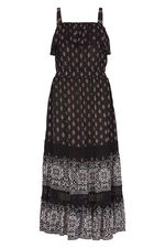 Tile Print Frill Maxi Dress