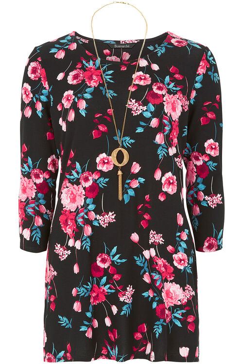 Floral Print Tunic With Necklace