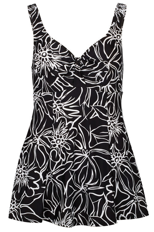 Outline Floral Bow Swim dress