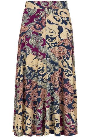 Printed Paisley Midi Skirt