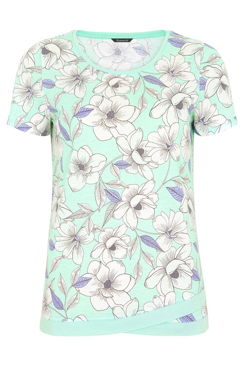 Overized Floral Wrap Hem T-Shirt