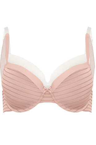 Dorina Two Pack Stripe and Plain T-Shirt Bra