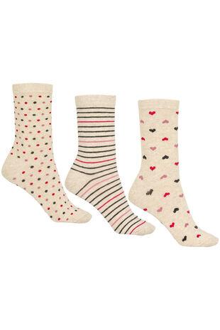 Heart Stripe Spot 3 Pack Sock