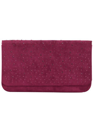 Faux Suede Stud  Detail Clutch