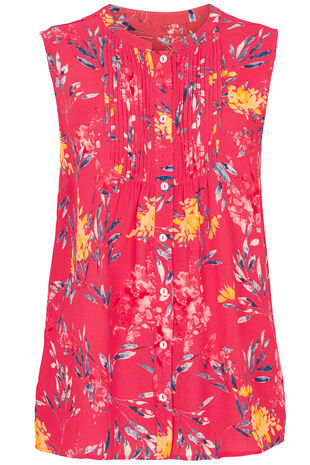Hyacinth Print Sleeveless Shell Top with Button and Pintuck Detail