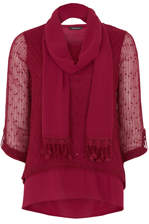 Textured Sequin 3/4 Sleeve Top With Scarf