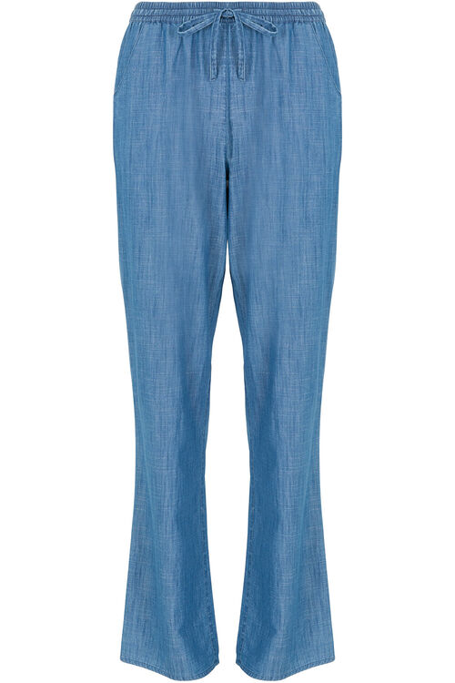 Wide Leg Chambray Trouser