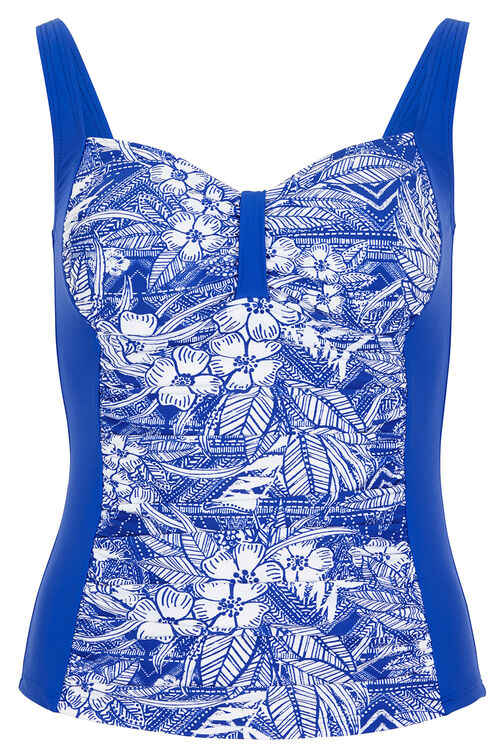 Ruched Front Printed Tankini Top