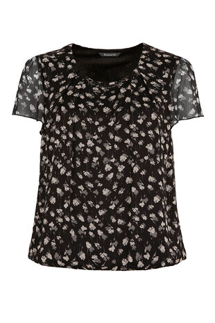Short Sleeve Leaf Print Chiffon Blouse