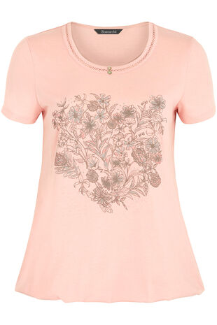 Floral Heart Placement Print T-Shirt