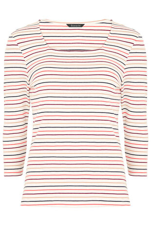 Square Neck Multi Stripe T-Shirt