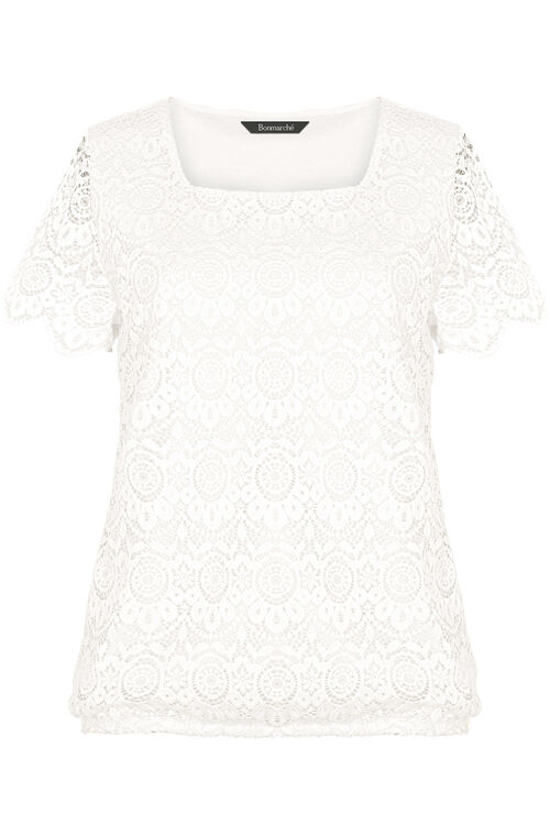 Square Neck Lace Top with Jersey Back