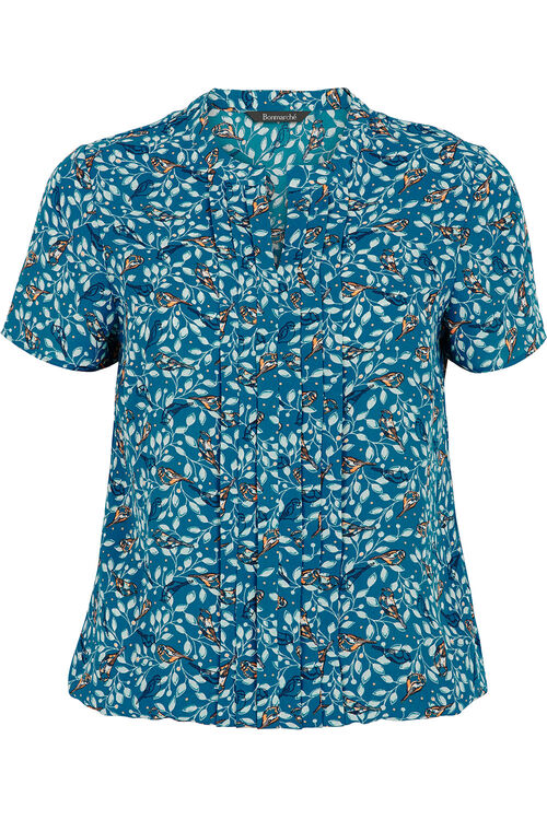 Printed Pleat Front Blouse