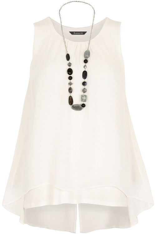 Sleeveless Double Layer Top & Necklace