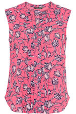 Floral Printed Sleeveless Pleat Front Blouse