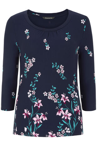 3/4 Sleeve Floral Print Scoop Neck Top