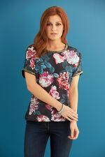 Embellished Floral Printed Jersey Back Top