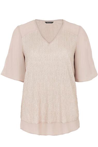 Short Sleeve Metallic Cold Shoulder Blouse
