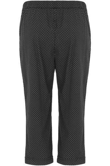 Spot Print Cotton Cropped Trousers