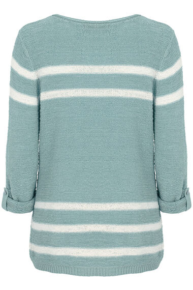 Stripe Tape Yarn Roll Sleeve Jumper