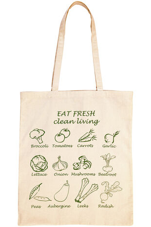 Vegetable Print Cotton Shopper Bag