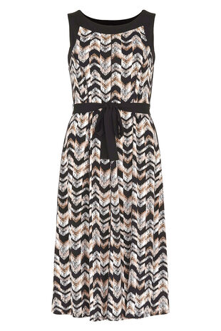 Texture Print Panelled Fit And Flare Dress