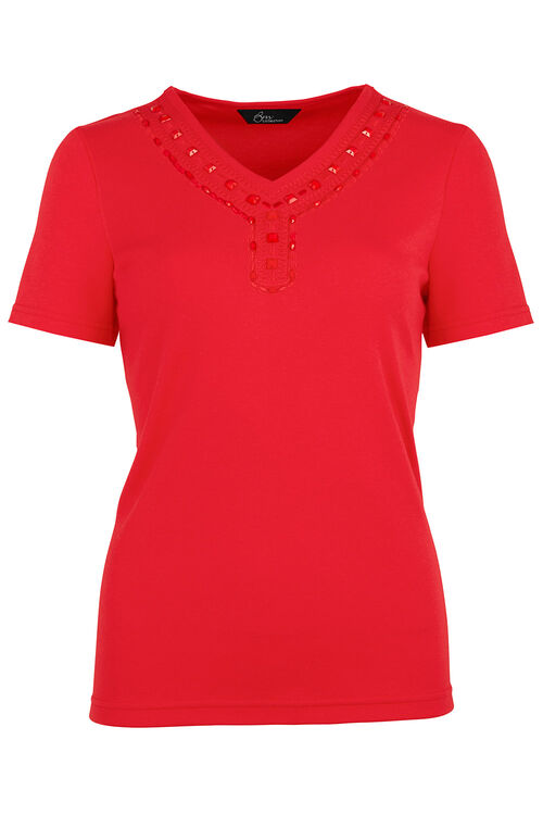 Bead Neck T-Shirt