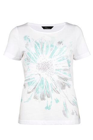 Cotton Exploded Floral Print T-Shirt