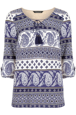 Printed Top With Jersey Back