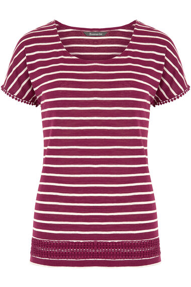 Striped T-Shirt with Crochet Trim