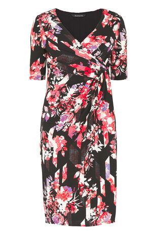 Geometric Floral 3/4 Sleeve Jersey Dress