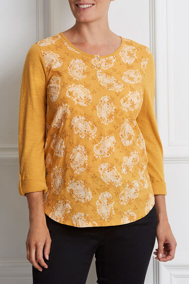 Printed Embroidered Cotton Top