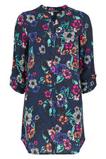 3/4 Sleeve Tropical Print Longline Blouse