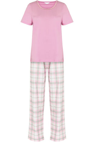 Pink Jersey Top Check Pant PJ