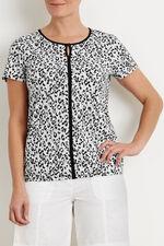 Contrast Trim Animal Print T-Shirt